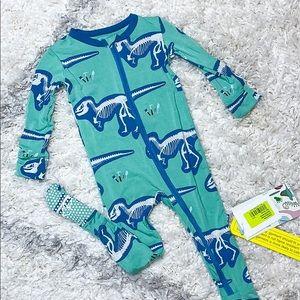 NWT Kickee Pants Shore T-Rex Dig Footie Pajamas